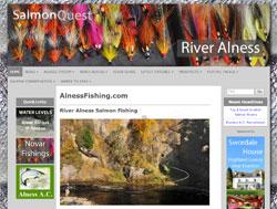Screenshot of the Alness Fishing website