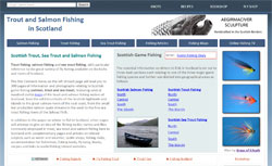 Screenshot of the Trout and Salmon Fishing in Scotland website