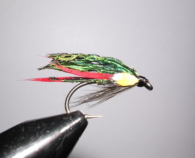 3 x Black Buzzer Trout Fly Flies Red Holo Cheeks Fine Yellow Holo Rib Size 14