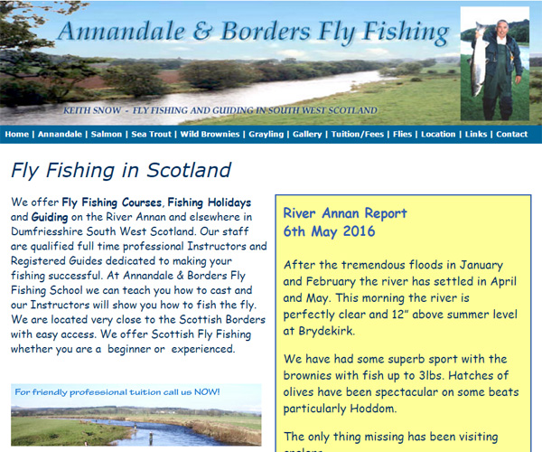 Screenshot of the Annandale and Borders Fly Fishing website