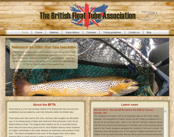 Screenshot of the British Float Tube Association website