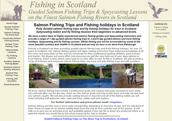 Homepage screenshot of Fishing in Scotland