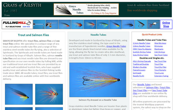Homepage screenshot of Grays of Kilsyth