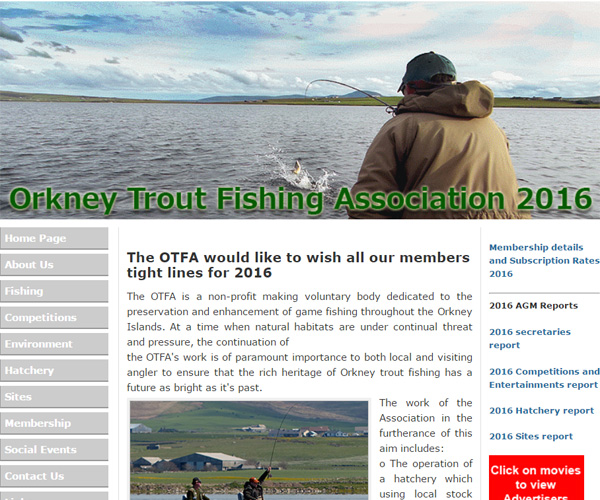 Screenshot of the Orkney Trout Fishing Association website