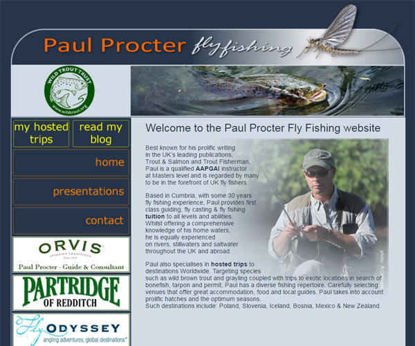 Homepage screenshot of Paul Procter Fly Fishing