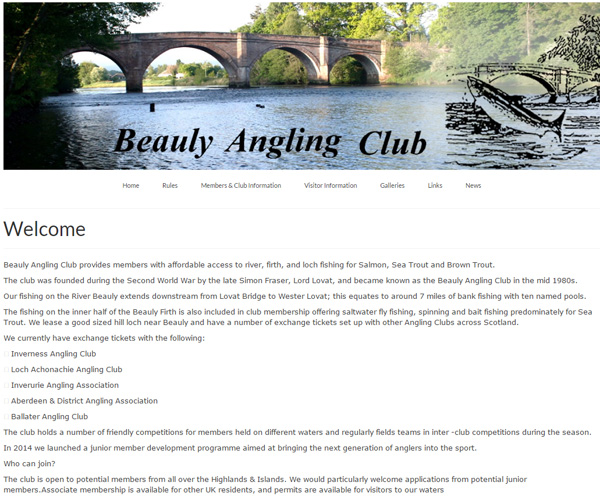 Screenshot of the River Beauly Angling Club website