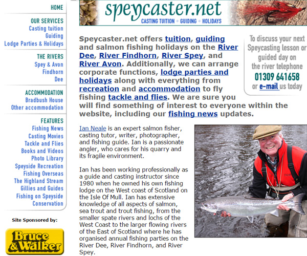 Screenshot of the Speycaster website