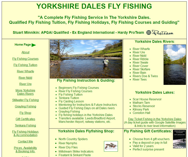 Homepage screenshot of Yorkshire Dales Fly Fishing