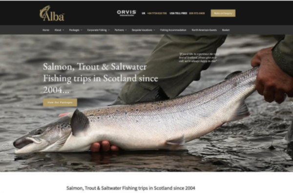 Homepage screenshot of Alba Game Fishing
