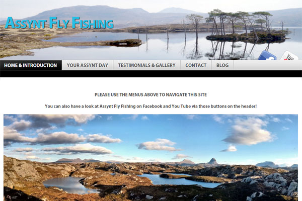 Screenshot of the Assynt Fly Fishing website