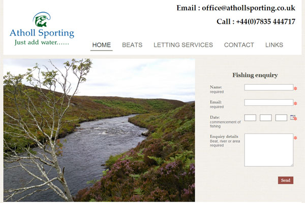Screenshot of the Atholl Sporting website