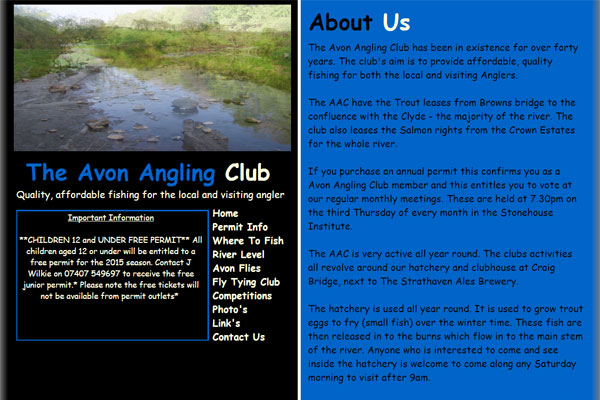 Screenshot of the Avon Angling Club website