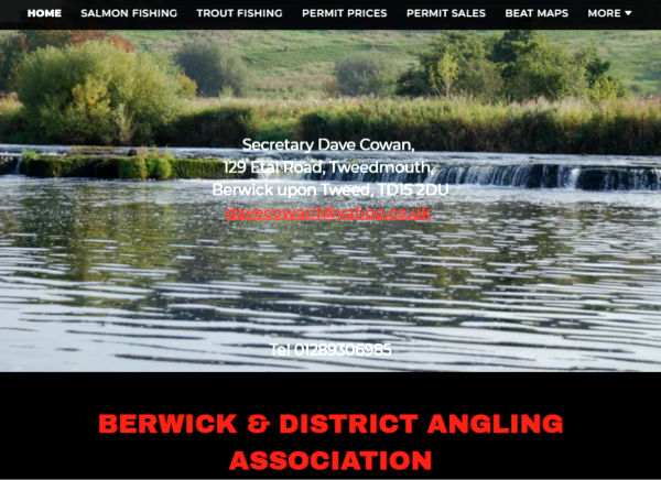 Screenshot of the Berwick and District Angling Association website