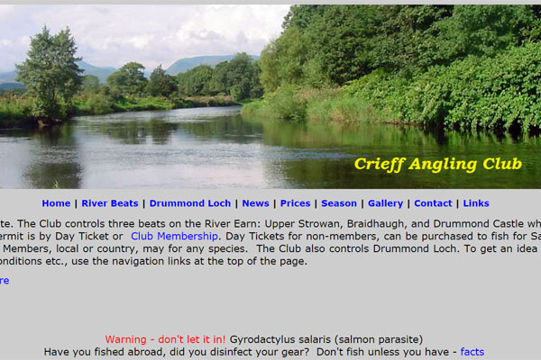 Screenshot of the Crieff Angling Club website