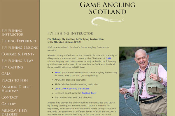 Screenshot of the Game Angling Scotland website