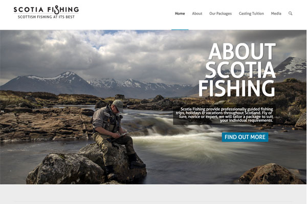 Screenshot of the Scotia Fishing website
