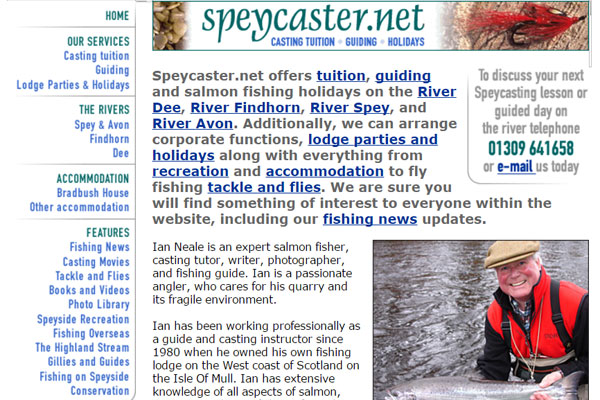 Screenshot of the Speycaster.net website